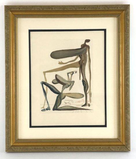 "Salvador Dali, 1963 Divine Comedy Purgatory ""Prodigality"" Wood Block Print"