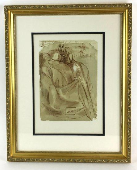 "Salvador Dali, 1963 Divine Comedy Purgatory ""Dante's Repentance"" Wood Block Print"