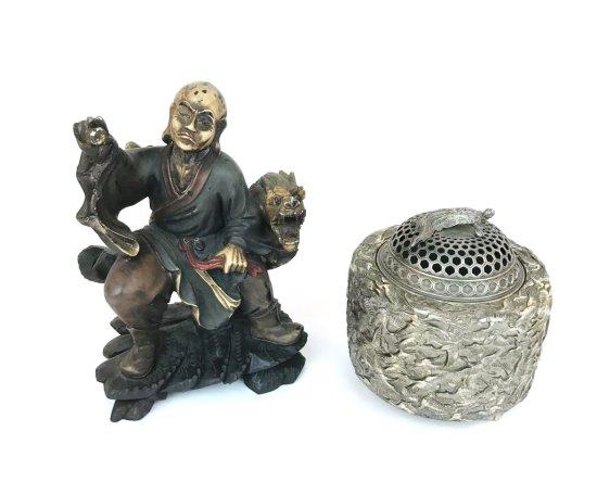 Vintage Oriental Incense Burner and Wood Carved Oriental Figure with Dragon Serpent Scuplture