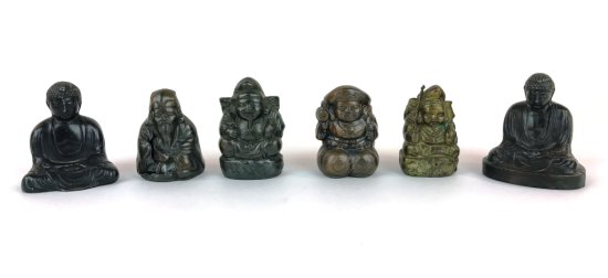 Vintage 6 Piece Oriental Asian Bronze Metal Figurines Signed and/or Numbered