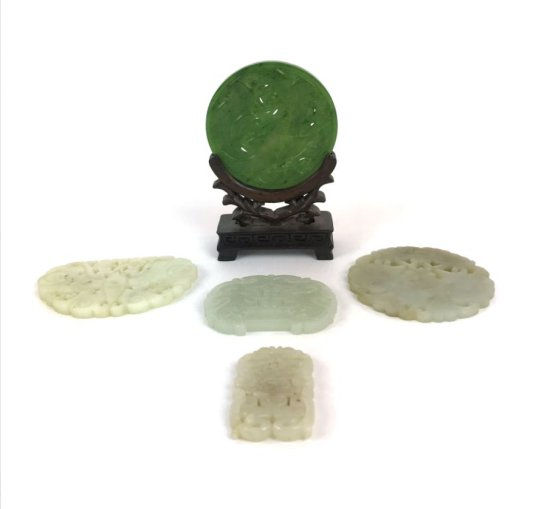 Collection of 5 Antique Oriental Asian Jade Stone Carved Symbolic Carvings