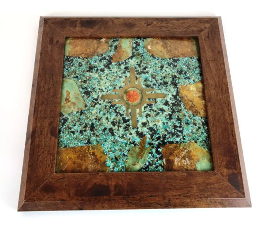 "Original Turquoise, Gemstone, Stone and Brass Framed Art Signed ""Barreiro 2008"""