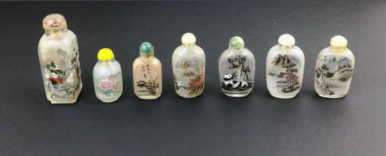 Collection of 7 Antique Oriental Asian Painted Glass Snuff Bottles