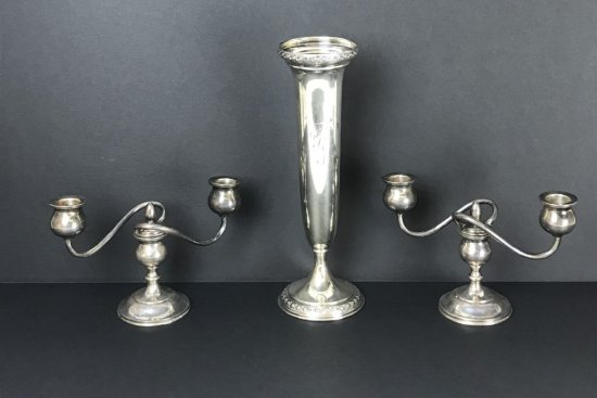 Sterling Silver Collection of Vase & Candle Stick Holders Weighted 20.7 Troy Ounces.