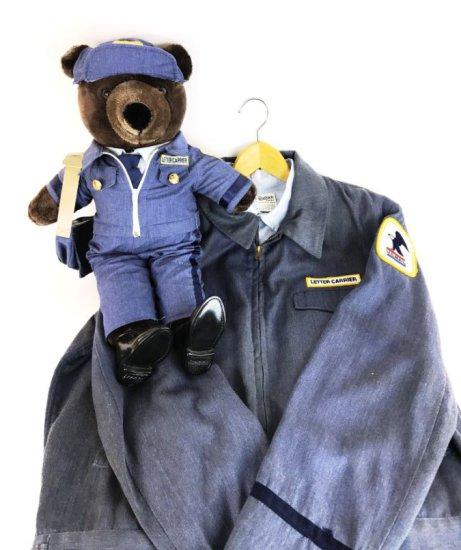 Vintage United States US Mail Postal Uniform and 1986 Patriot US MAIL Teddy Bear