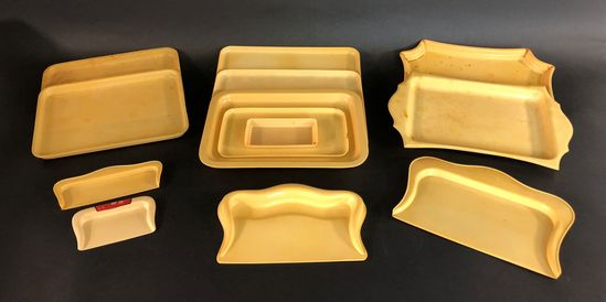 Vintage Collection of 13 Pyralin French Ivory Celluloid Dresser Vanity Trays and Crumb Trays