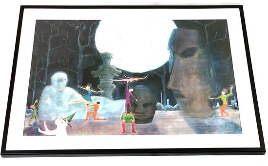 """""""Easter Island Fantasy"""", Mixed Media on Paper, 1982"""