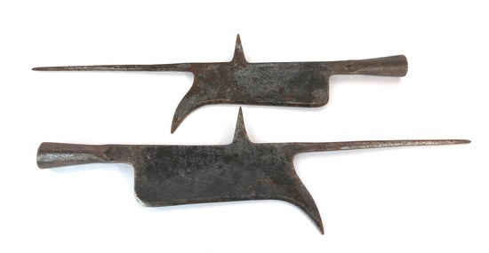 Pair of Antique Hand Wrought Iron Halberd Pike Spear Weapon Heads