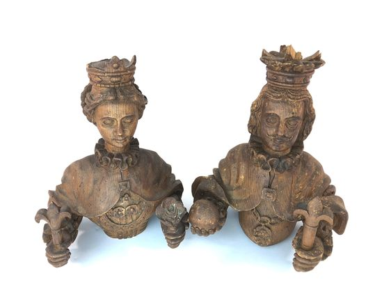 Intricately Carved French Royalty King & Queen Busts Sculptures