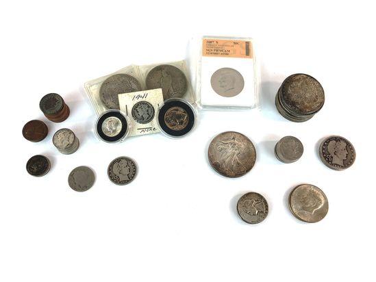 US Silver & Vintage US coins Morgans, Peace, Mercury, Buffalo, Indian, Halves, Quarters & More