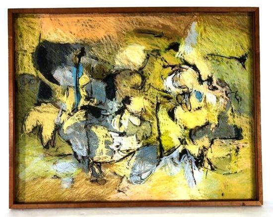 Harry Nadler, Framed Chalk on Board, Signed 1959