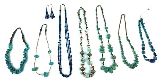 Vintage Silver, Turquoise, Lapis, & Stone Jewelry Lot