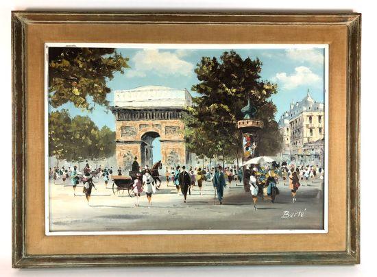 "Large H. Berte Signed Oil on Canvas French ""Arc De Triomphe"" Scene"