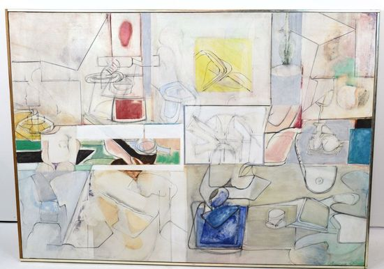 Listed Artist, Harry Nadler, Large Oil on Canvas, Painting Untitled 1965