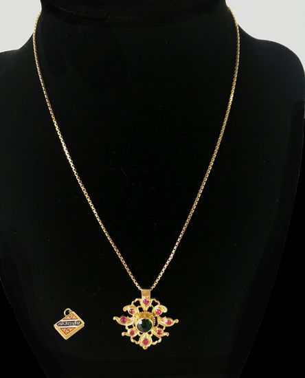 18KT Yellow Gold Necklace with Two 18KT+ Gold Pendants 9.7 Grams