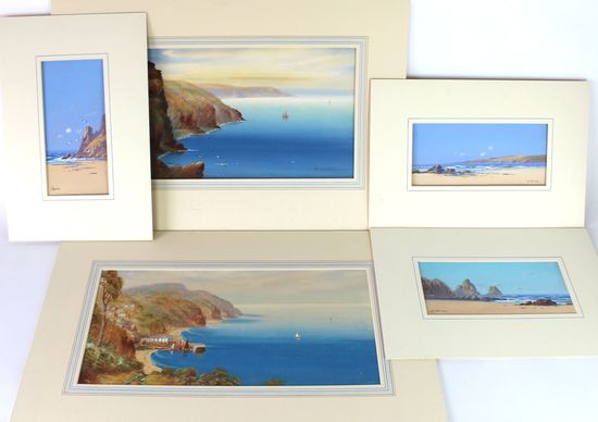 5 Ocean Scene Watercolor Paintings by listed artists G. Trevor and Garman Morris