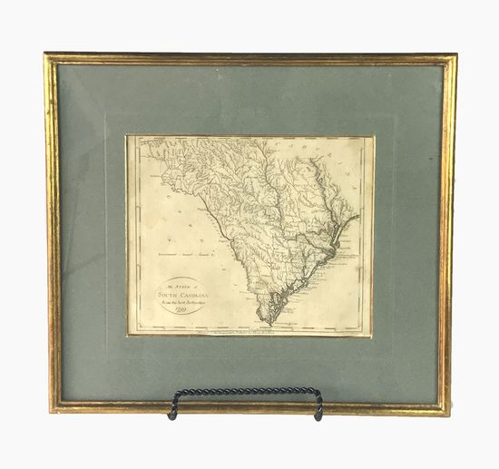 Antique South Carolina Map Engraving Lithograph, 1799