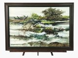 Original Oil on Canvas by Listed Artist Paco Gorospe Oil on Canvas Boat and Landscape Painting