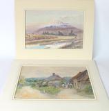 Original Listed Artists Watercolor Masano Kawakubu and A. Honeywood Waller