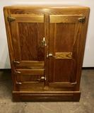 Antique Oak Ice Box Chest Refrigerator with 3 Doors
