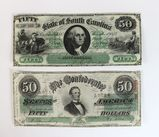 US Series 1863 Fifty Dollars Confederate Bill from Richmond & Dec 1873 Fifty Dollars State of SC