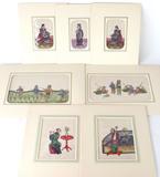Lot of 7 Original Watercolors on Rice Paper