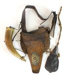 Antique HB Hudson Bay Leather Animal Skin Pouch with Engraved Powder Horn and Leather Pouch