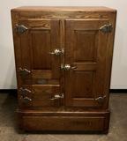 Belding Hall Notaseme Stone Lined 3 Door Oak Ice Box Refrigerator