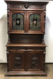 Antique Carved Sideboard Buffet w/ Stained Glass Doors