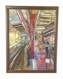 Listed Artist Stephen STOLLER 34th ST Subway and Madison Square Gardens Abstract Oil on Canvas