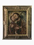Antique Circa 19th Century Iconic Religious Christ and Child Oil on Canvas Painting with Frame