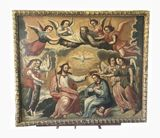 Antique Circa 19th Century Iconic Religious Christ Art Oil on Canvas Painting with Frame