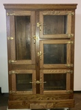 Antique Oak Large Ice Box Chest Refrigerator with 5 Doors