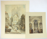 Original Watercolors by Listed Artists Henry Hopley White, and A. Cardinal