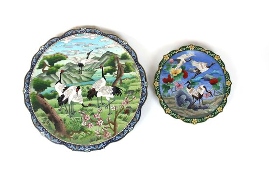 Pair of Vintage Asian Cloisonne Decorative Plate Charger Wall Plaque