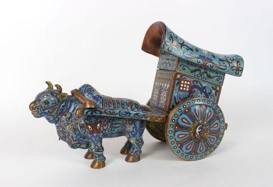 Cloisonne Bull and Bullock Cart Statue Figure