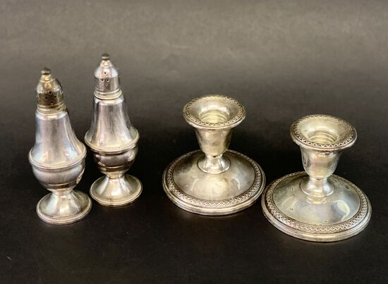 Sterling Silver Salt & Peppers Shakers with a Pair of Candlesticks