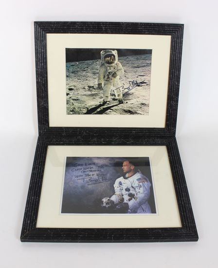 Pair (2) Signed Buzz Aldrin Signed USA NASA Astronaut Lunar Pictures