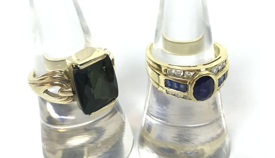 18KT Yellow Gold Diamond & Sapphire Stone Ring and 14KT Yellow Gold & Black Smoky Quartz? Stone Ring