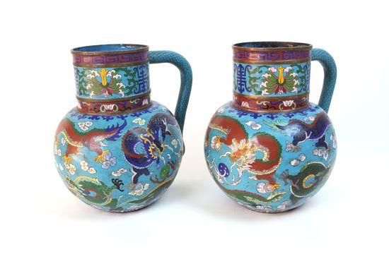 Pair of Vintage Asian Cloisonne Vases / Pitchers