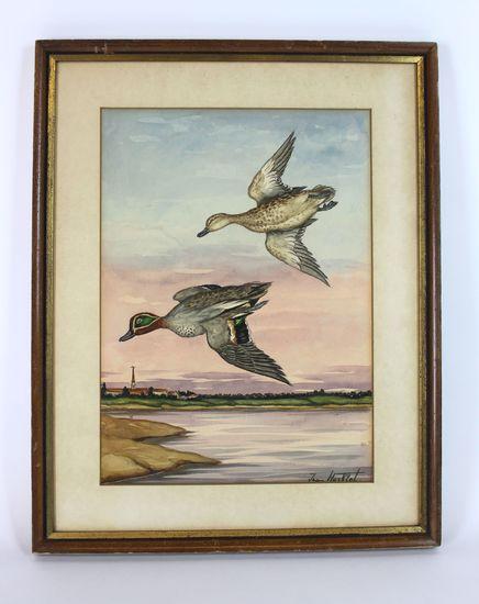 """Jean Herblet (Hezblet 1893-1985, Russian/French) Original Watercolor """"Ducks"""""""