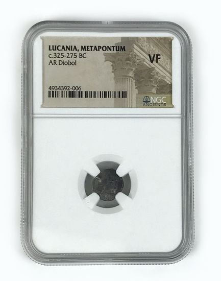 Ancient Greece, Lucania Metapontum, AR diobol, 325-275 BC