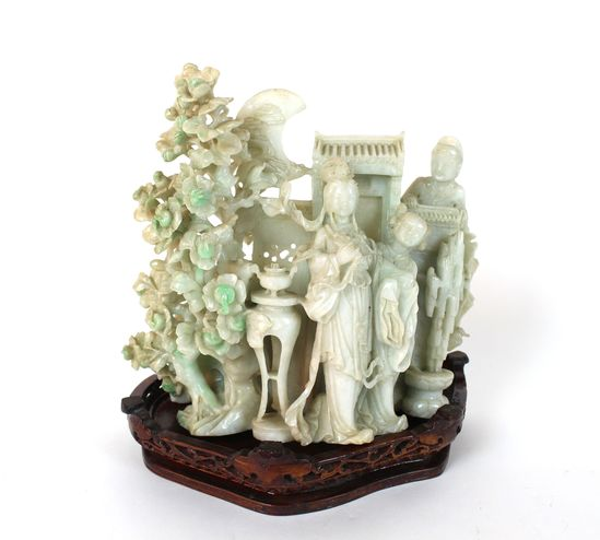 Carved Jade Scultpure on Wood Base