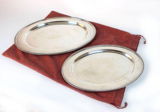 Pair of Gorham Sterling Silver Platters, 68 Troy Oz.