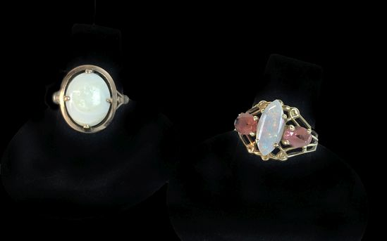 Pair of Two 14KT Yellow Gold Opal & Ruby Rings