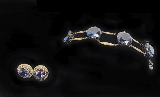 14KT Yellow Gold Earrings and Rose Gold Colored Bracelet with Blue/Purple Tanzanite Colored Stones