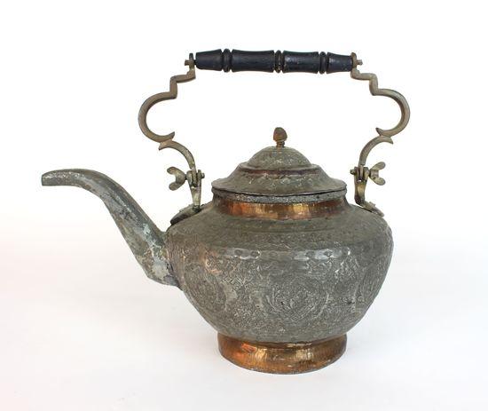 Vintage Hammered Silver & Copper Tea Kettle