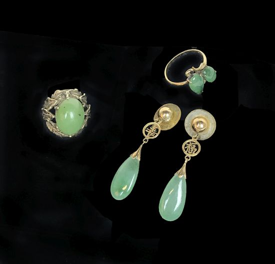 Collection of Jade and Green Stone 14KT Gold Rings and Earrings