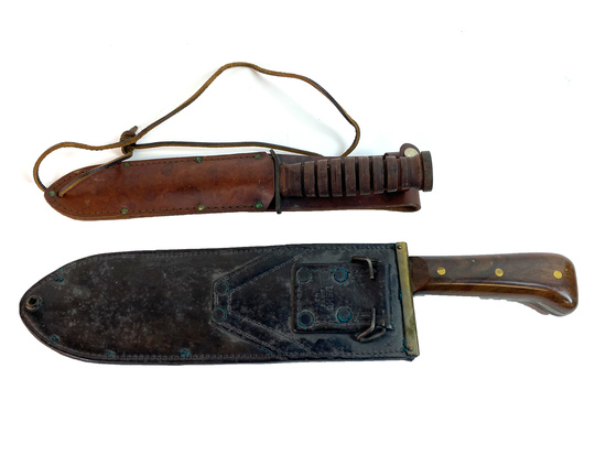 Lot of 2 Vintage Knives: USMC Chatillon NY and Camillus Knife, both with Leather Sheath