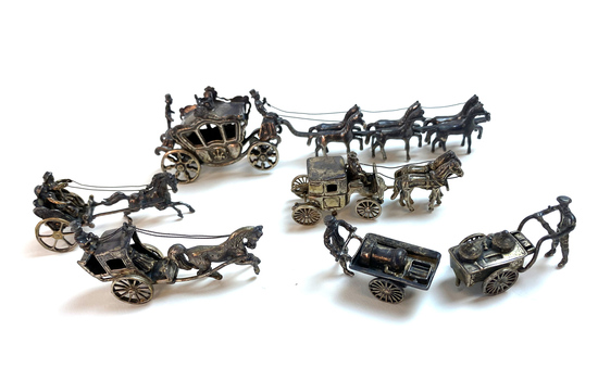 Collection of Vintage Sterling Silver Figurines Horse Drawn Carriage / Stagecoach